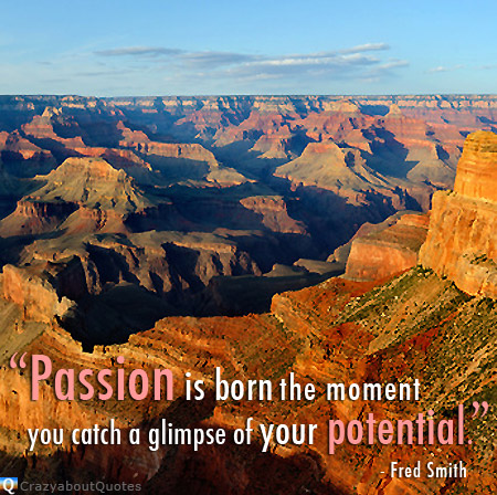 Hopi Point, Grand Canyon National Park with quote of the day about passion.