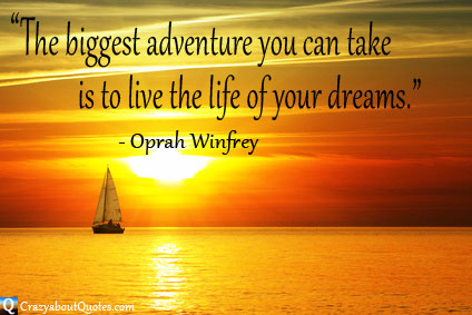 Yacht sailing at sunrise with Oprah Winfrey quote about dreams.