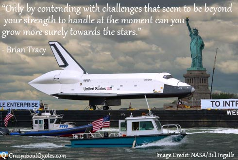 Image from NASA of space shuttle going past New York with Brian Tracy Quote