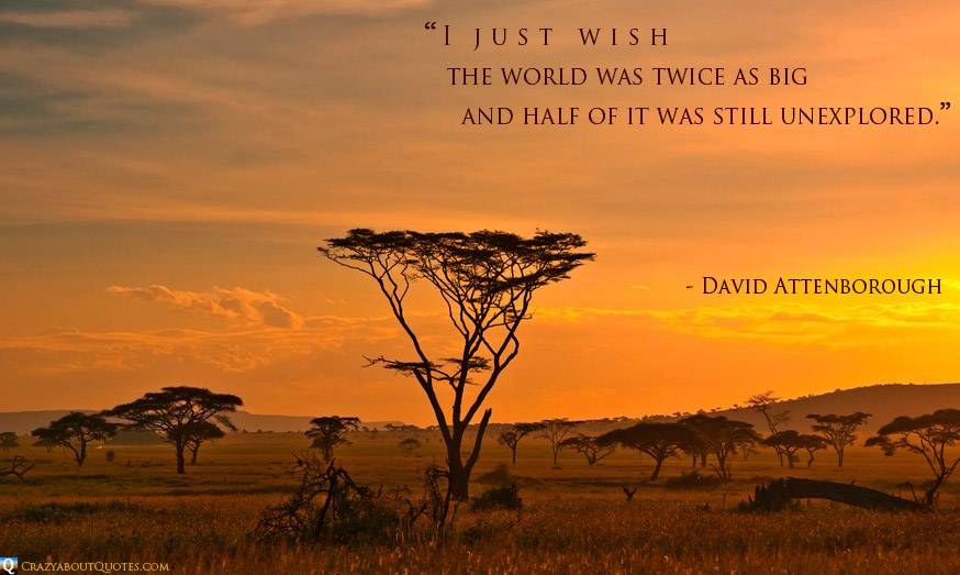 African sunset in the Serengeti National Park, Tanzania with quote of the day from David Attenborough.