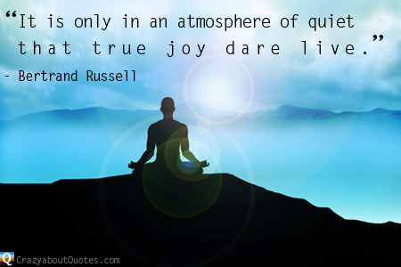 Man in meditation pose amongst mountains with Bertrand Russell quote about joy.