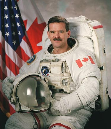 Canadian astronaut Chris Hadfield in full space suit.