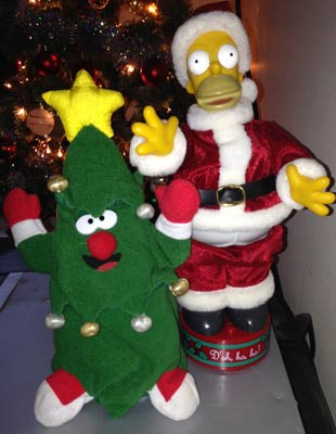 Homer Simpson and crazy xmas tree.