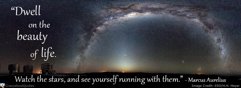 ESO image of Milky Way with quote about the beauty of life.