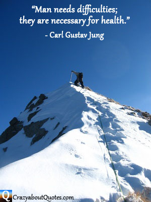 Man climbing snow capped mountain with Carl Jung quote.