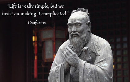 Confucius quote with statue of Confucius