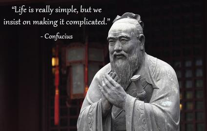 Confucius quote with statue of Confucius