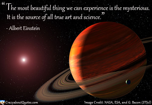 NASA image of Saturn and distant star with Albert Einstein quote