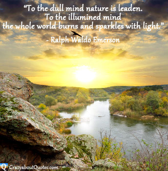 Glowing yellow sunrise over river with Ralph Waldo Emerson quote.