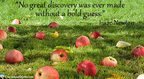 Fallen apples on green grass with Isaac Newton quote.