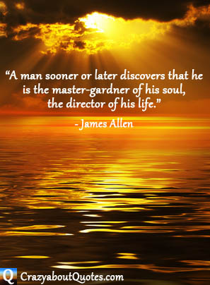 Golden rays of sun breaking through clouds onto a tranquil sea with James Allen quote.