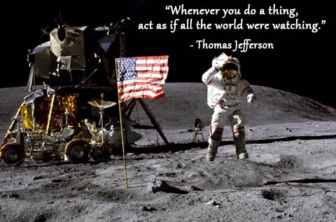 Astronaut and American flag on moon surface with Thomas Jefferson quote.