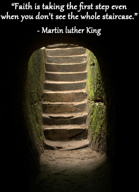 Light shining on staircase in tunnel with Martin Luther King quote.