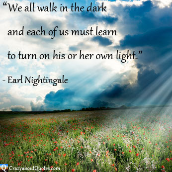 Sunlight shining through dark clouds onto field of flowers with Earl Nightingale quote.