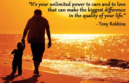 Father and son on beach at sunset with Tony Robbins quote