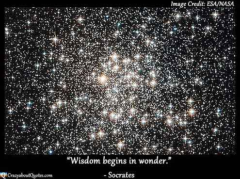 NASA image of field of stars taken by Hubble with Socrates quote