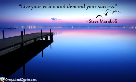 Quote about success with tranquil waters and sunset.
