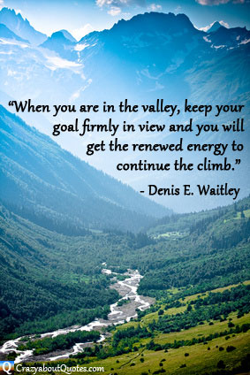 River in deep valley with jagged mountain peeks and Denis Waitley quote.