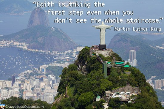Statue of 'Christ the Redeemer' looking out over Rio de Janeiro with Martin Luther King quote of the day.