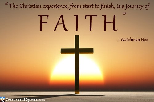Cristian quote about faith with cross at sunrise.