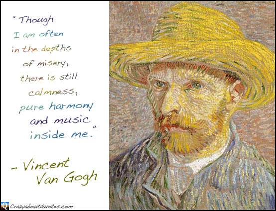 Self-portrait with straw hat and Vincent Van Gogh quote.