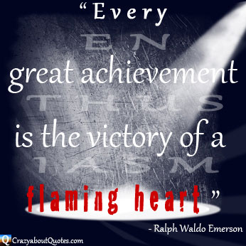 Ralph Waldo Emerson achievement quote in the spotlight.