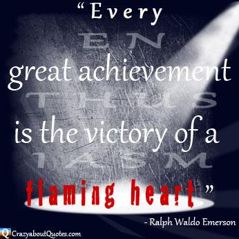 Ralph Waldo Emerson achievement quote in the spotlight.
