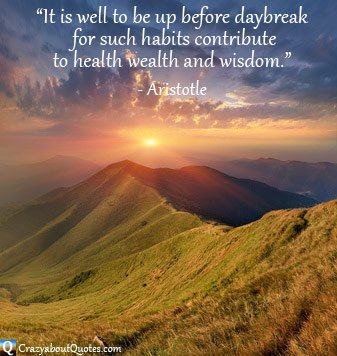 Sunrise over mountains and clouds with Aristotle quote.