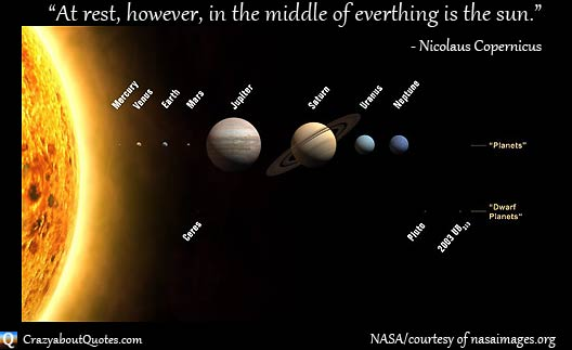 NASA solar system image with Copernicus quote