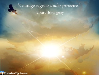 Eagle flying in magnificent sunset with courage quote.