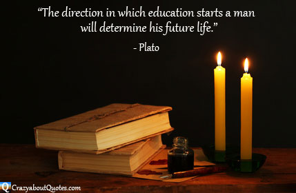 Ancient books by candlelight with quote about education by Plato
