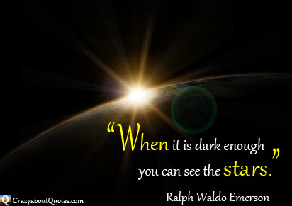 Our star shining it's light through the darkness onto planet earth with Ralph Waldo Emerson quote.