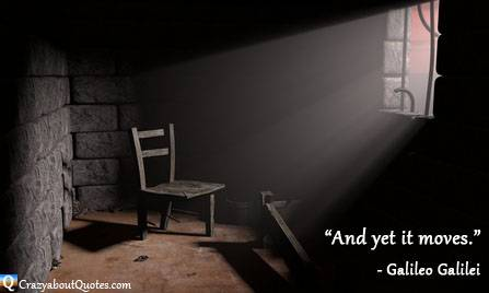 Old prison with sunlight shinning through bars and Galileo quote.