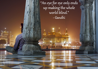 Temple in Amritsar with Gandhi quote.