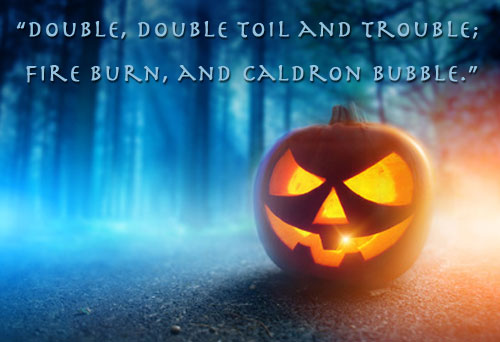 Evil pumpkin shining in the dark woods with Halloween quote.