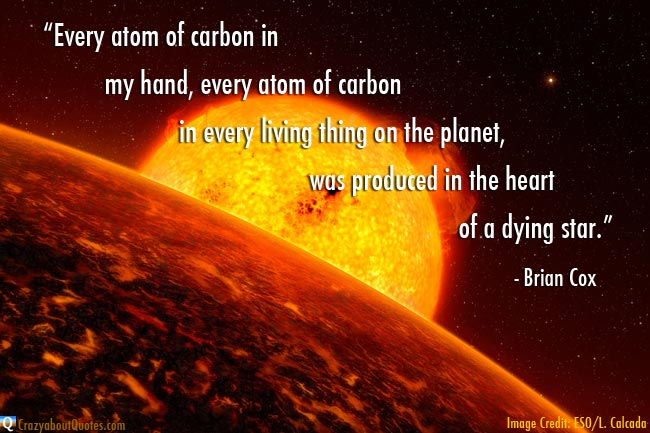 ESO image of distant sun with Brian Cox quote about a dying star.