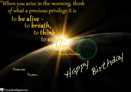 The sun rising over the earth with inspirational birthday quote.