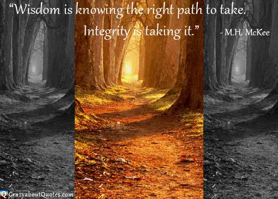 Three paths to take, two dark and one shining with glowing yellow light with integrity quote.