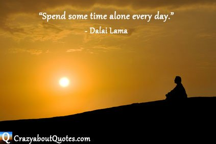 Man alone with orange glowing sunset and Dalai Lama quote.