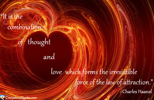 Heart engulfed in whirls of fire with law of attraction quote.