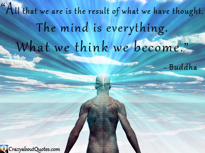 Man looking to horizon with light coming from his brain and Buddha quote about the mind.