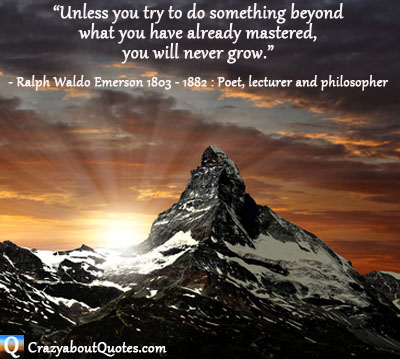 Sun rising behind jagged edged mountain with motivational quote.