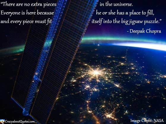 Image from NASA of Moscow and the Aurora Borealis with Universe quote.