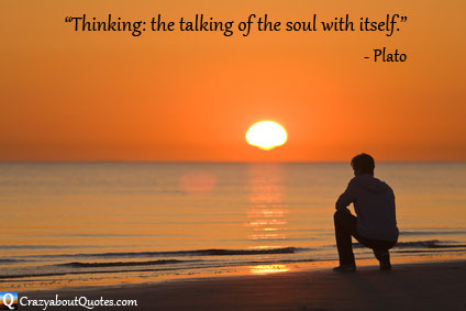Man in contemplation at sunset with Plato quote
