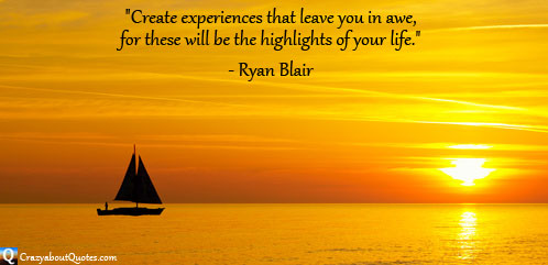 Yacht sailing in spectacular sunset with quote about life.