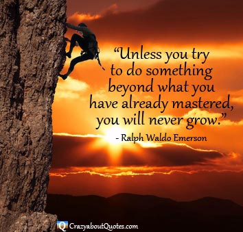 Rock climber at sunset with Ralph Waldo Emerson quote.