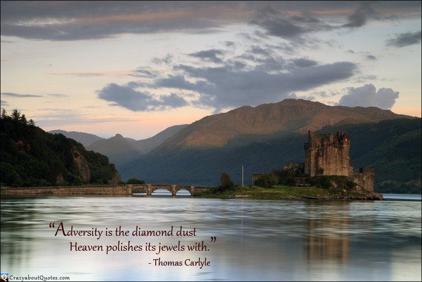 Eilean Donan Castle, located in the western Highlands of Scotland with Thomas Carlyle quote