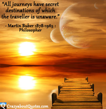 Jetty leading to mystical world with travel quote