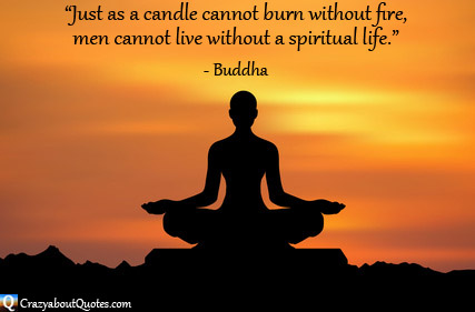 Meditation at sunrise with spiritual quote from buddha