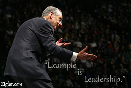 Zig ziglar in action with leadership quote.